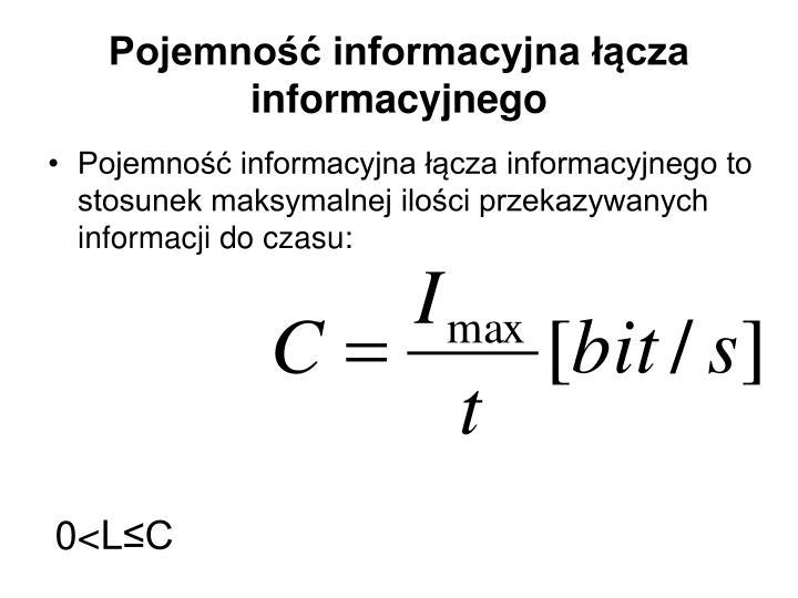 Pojemność informacyjna łącza informacyjnego