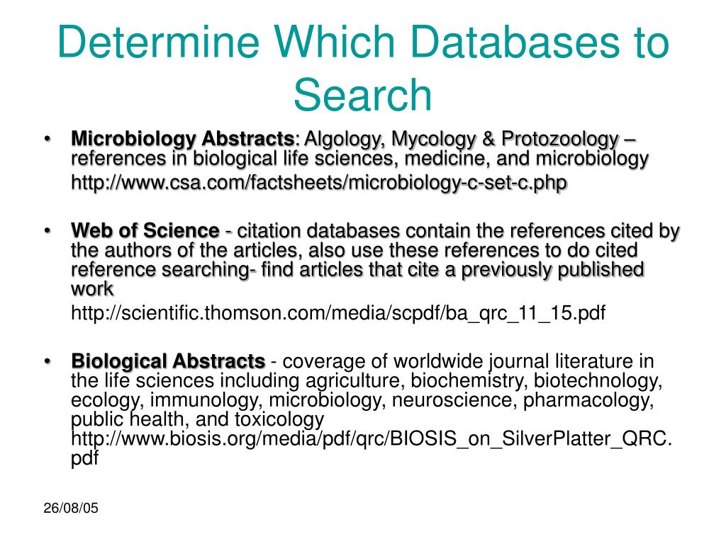 Determine Which Databases to Search