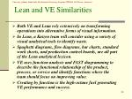 lean and ve similarities