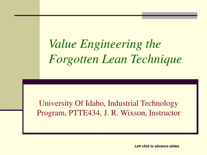 value engineering the forgotten lean technique n.
