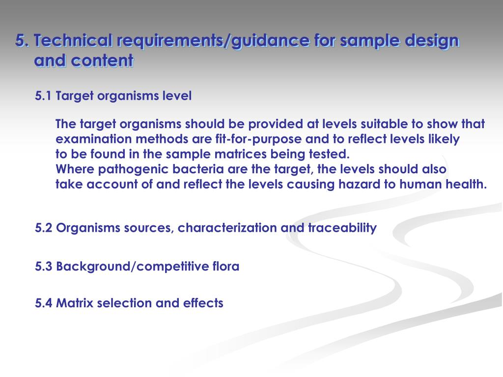 5. Technical requirements/guidance for sample design
