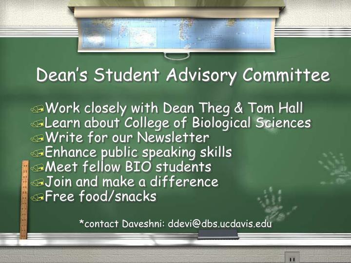 Dean s student advisory committee