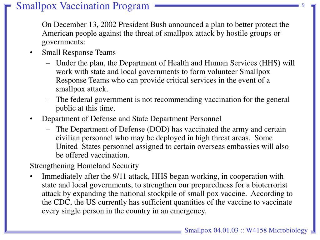 Smallpox Vaccination Program