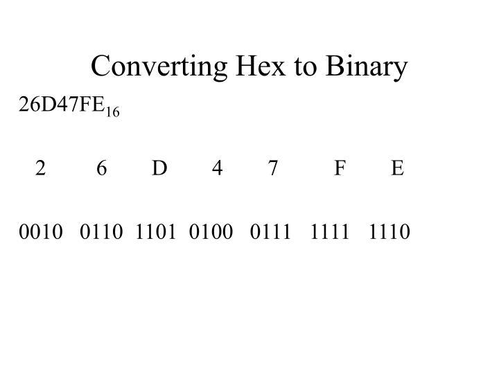 Converting Hex to Binary
