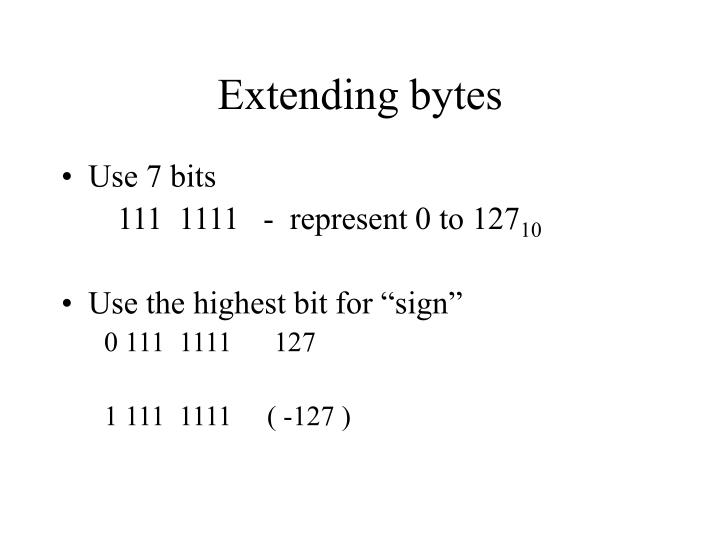 Extending bytes