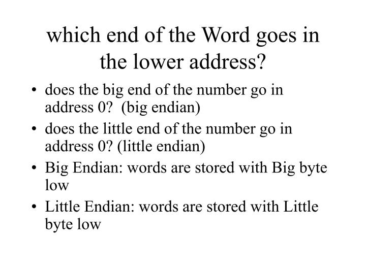 which end of the Word goes in the lower address?