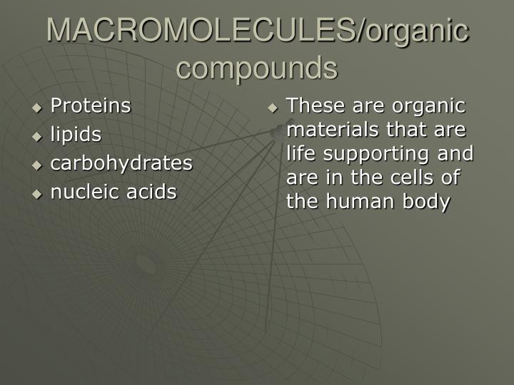 Macromolecules organic compounds