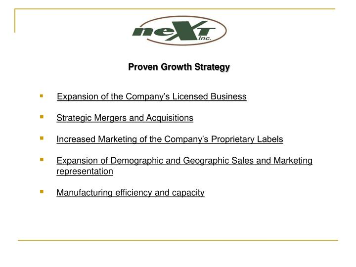 Proven Growth Strategy