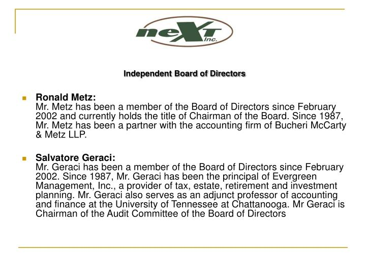 Independent Board of Directors