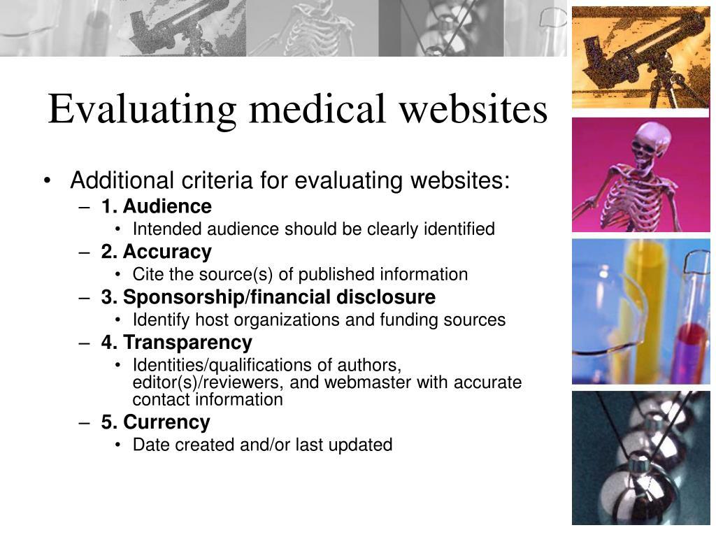 Evaluating medical websites