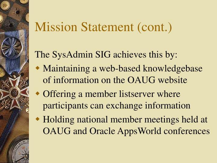 Mission Statement (cont.)