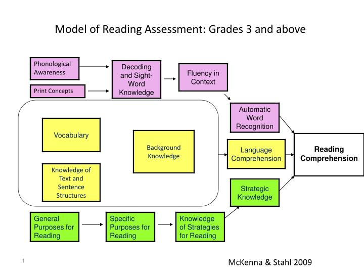 model of reading assessment grades 3 and above n.
