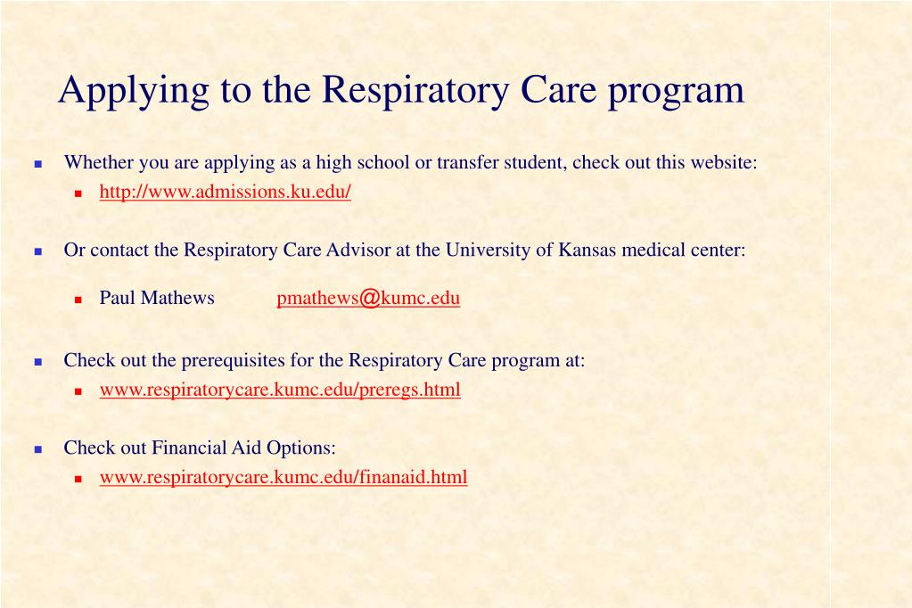 Applying to the Respiratory Care program