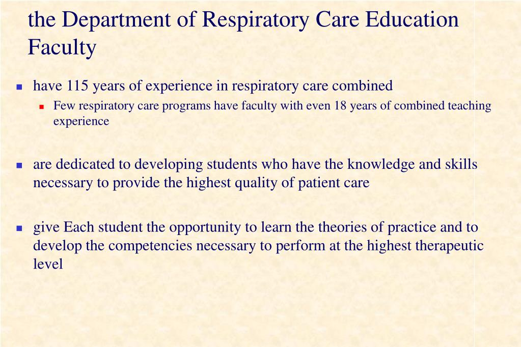 the Department of Respiratory Care Education Faculty