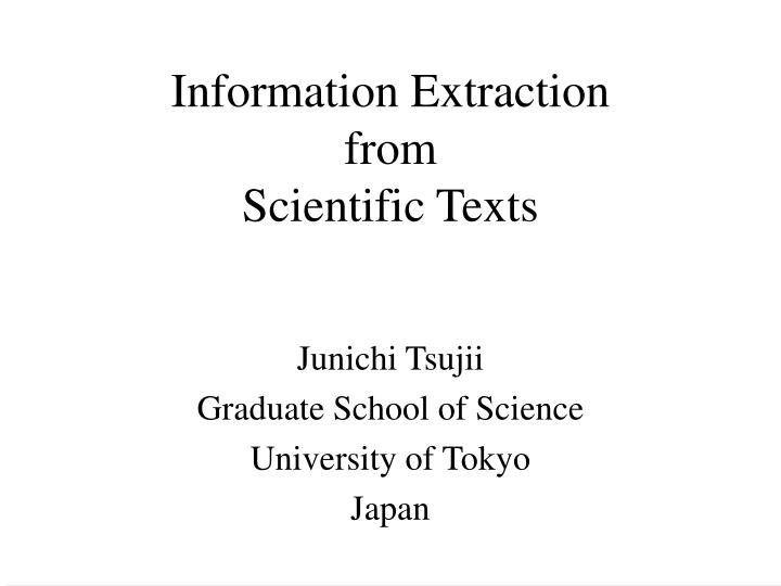 information extraction from scientific texts