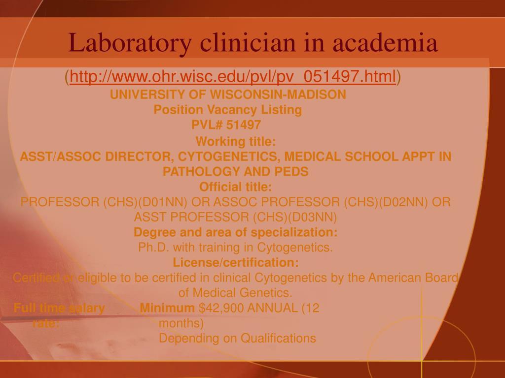 Laboratory clinician in academia