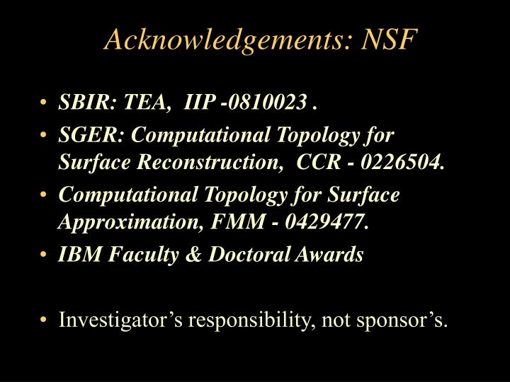 Acknowledgements: NSF