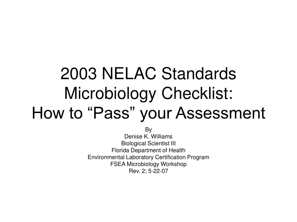 2003 nelac standards microbiology checklist how to pass your assessment l.
