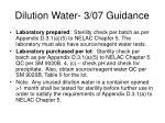 dilution water 3 07 guidance