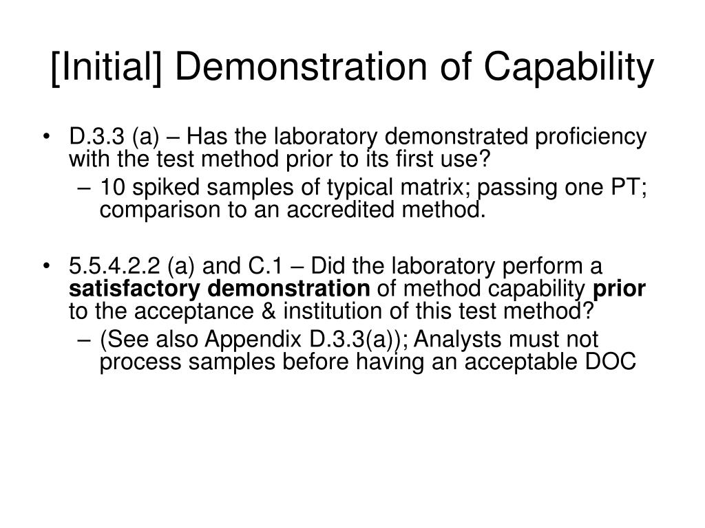 [Initial] Demonstration of Capability