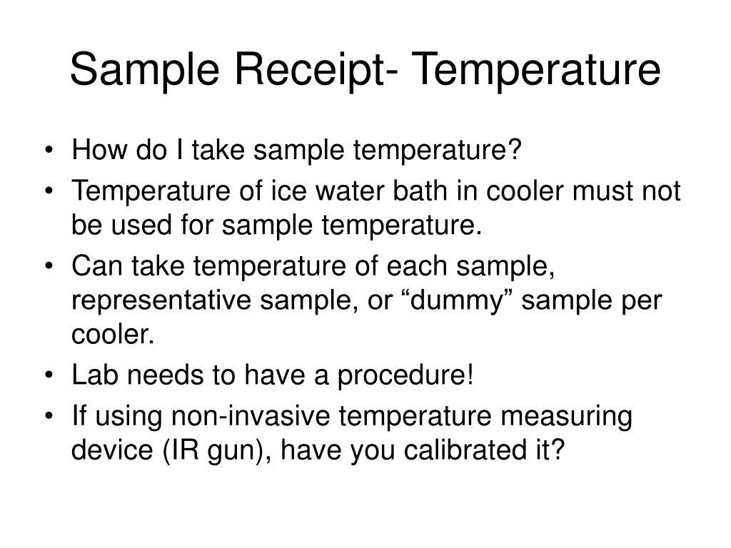 Sample Receipt- Temperature