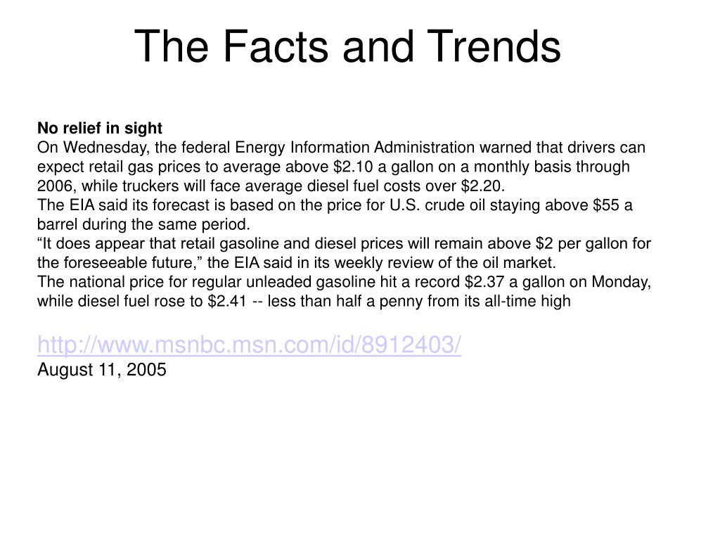 The Facts and Trends