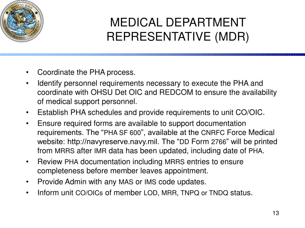 MEDICAL DEPARTMENT REPRESENTATIVE (MDR)