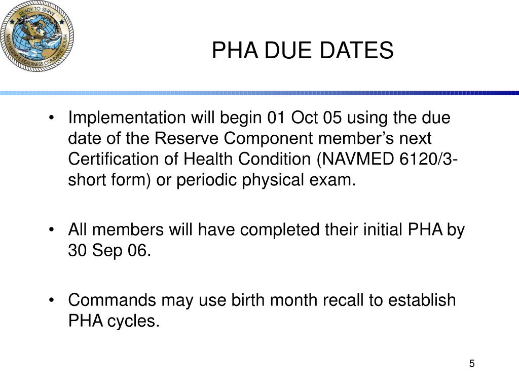 PHA DUE DATES