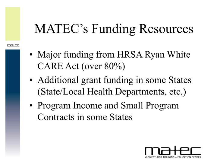Matec s funding resources