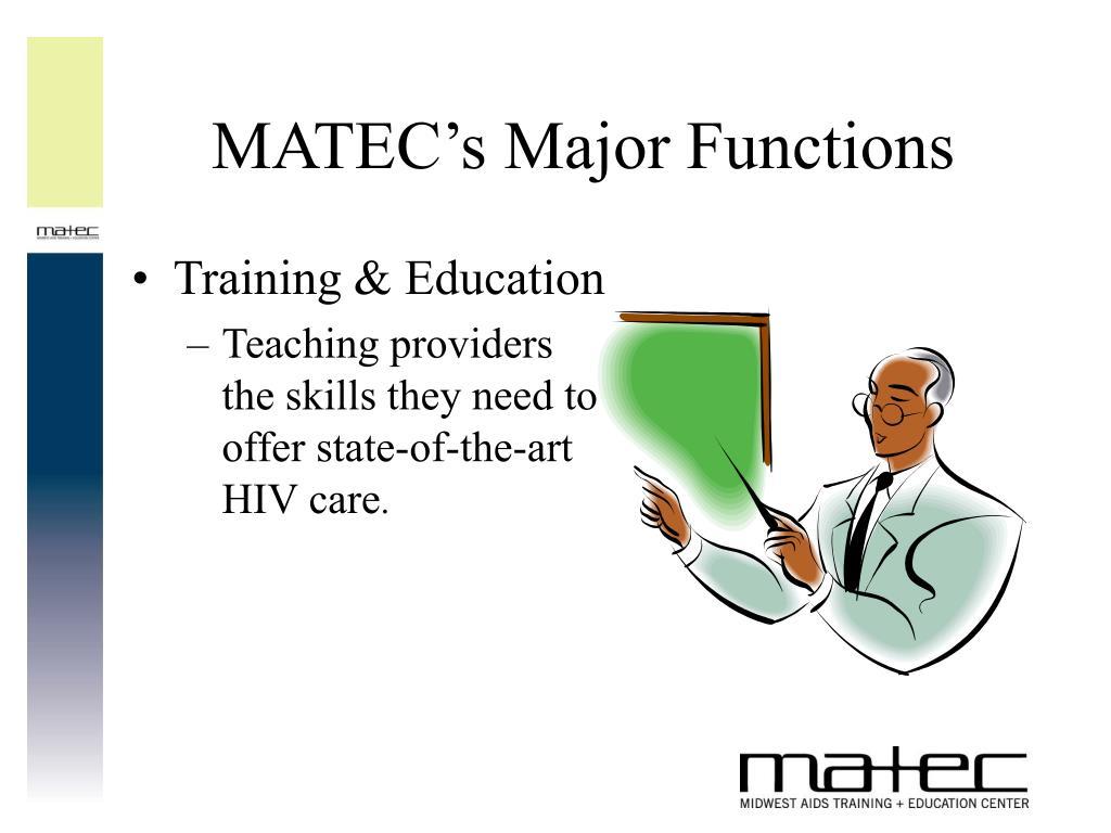 MATEC's Major Functions