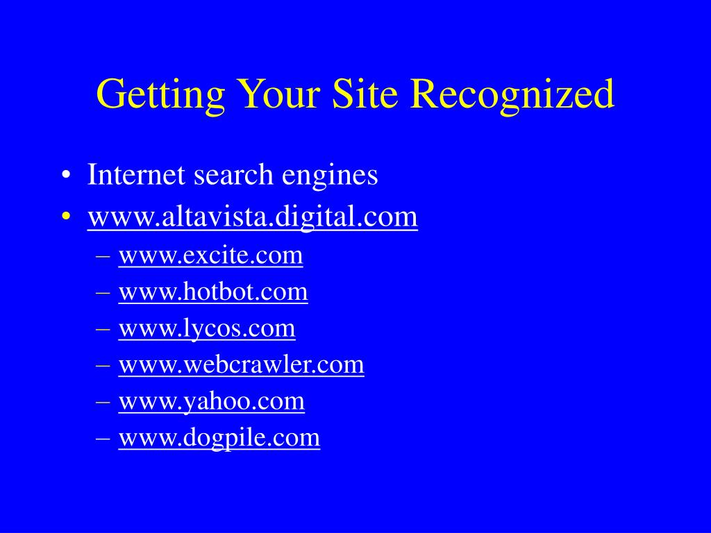 Getting Your Site Recognized