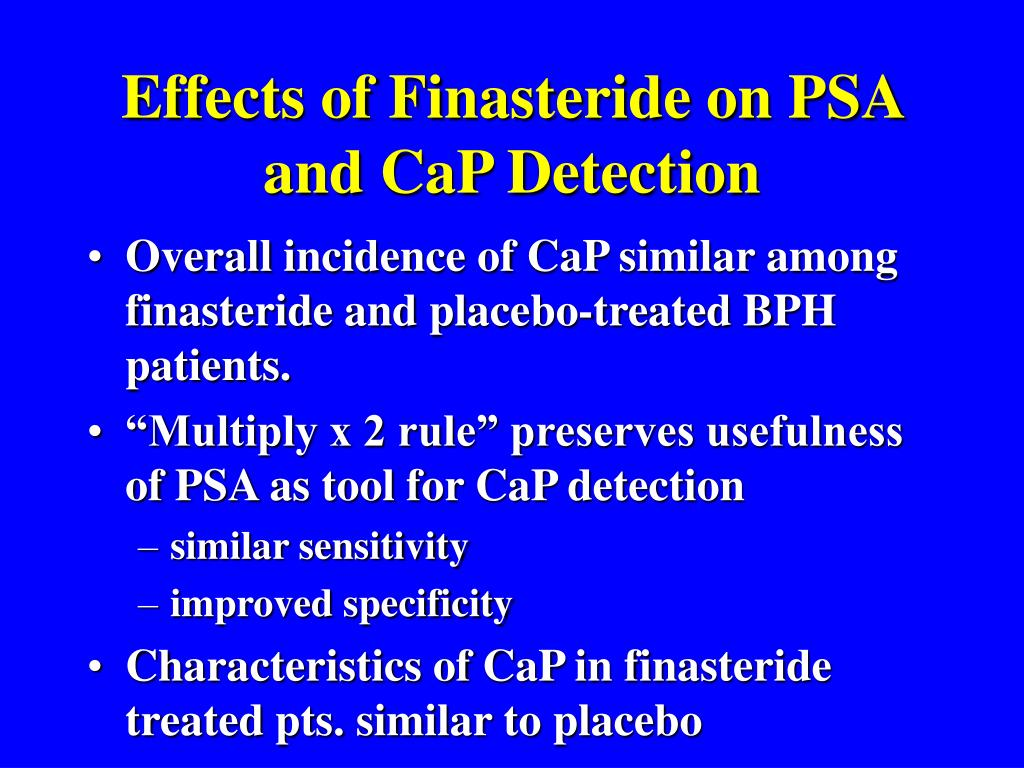 Effects of Finasteride on PSA and CaP Detection