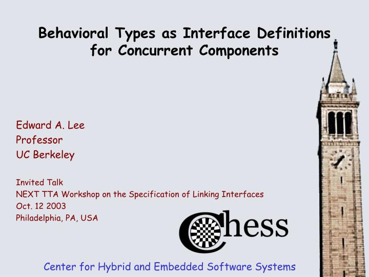 behavioral types as interface definitions for concurrent components n.