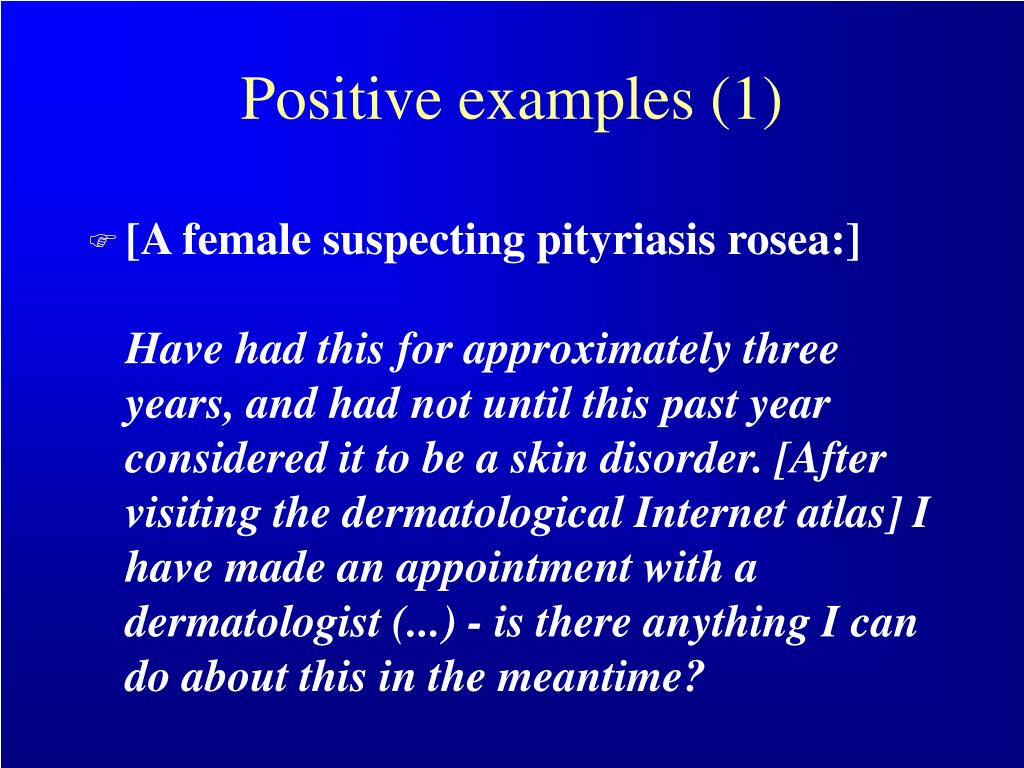 Positive examples (1)