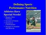 defining sports performance nutrition