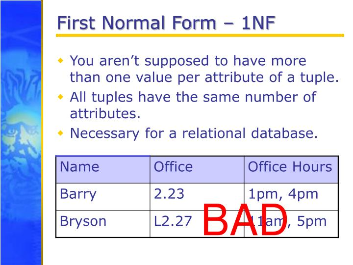 First Normal Form – 1NF