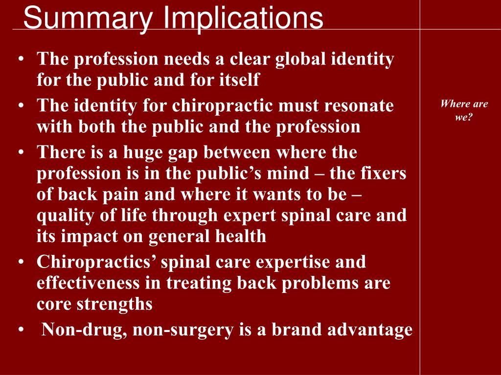 Summary Implications
