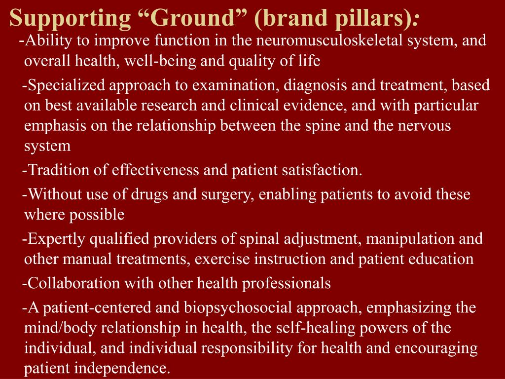 """Supporting """"Ground"""" (brand pillars)"""