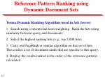 reference pattern ranking using dynamic document sets1