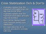 crisis stabilization do s don ts71