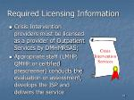 required licensing information