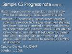 sample cs progress note cont d