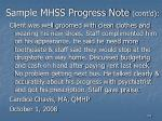 sample mhss progress note cont d