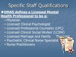 specific staff qualifications