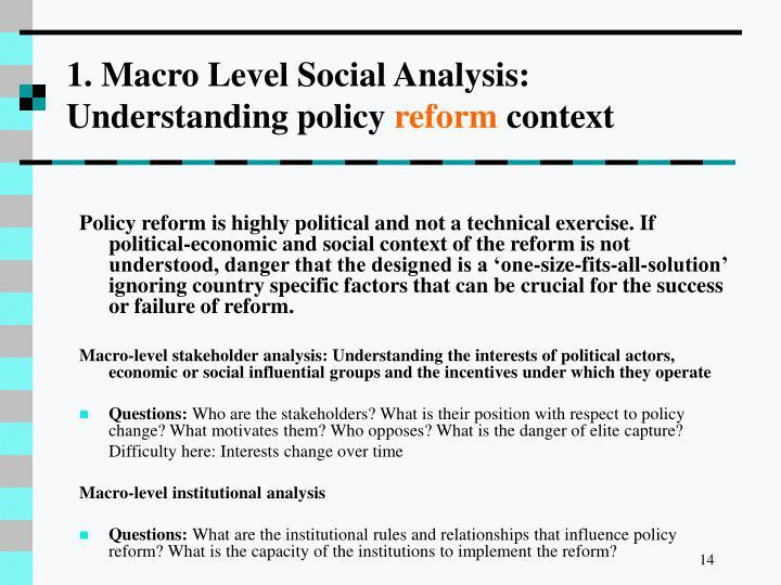 1. Macro Level Social Analysis: