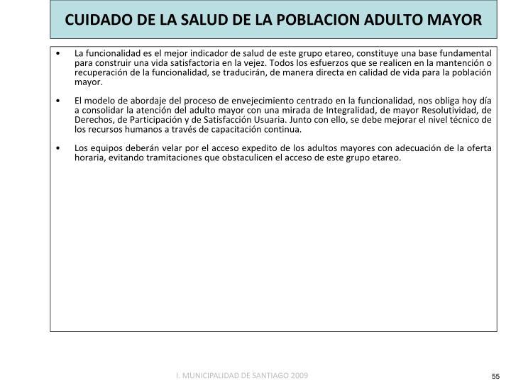 CUIDADO DE LA SALUD DE LA POBLACION ADULTO MAYOR