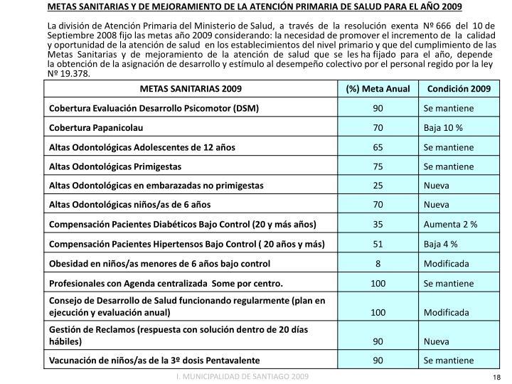 METAS SANITARIAS Y DE MEJORAMIENTO DE LA ATENCIÓN PRIMARIA DE SALUD PARA EL AÑO 2009