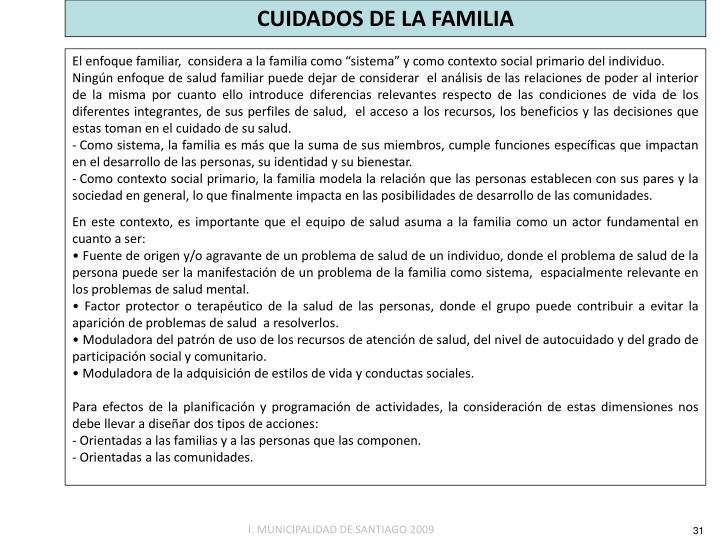 CUIDADOS DE LA FAMILIA