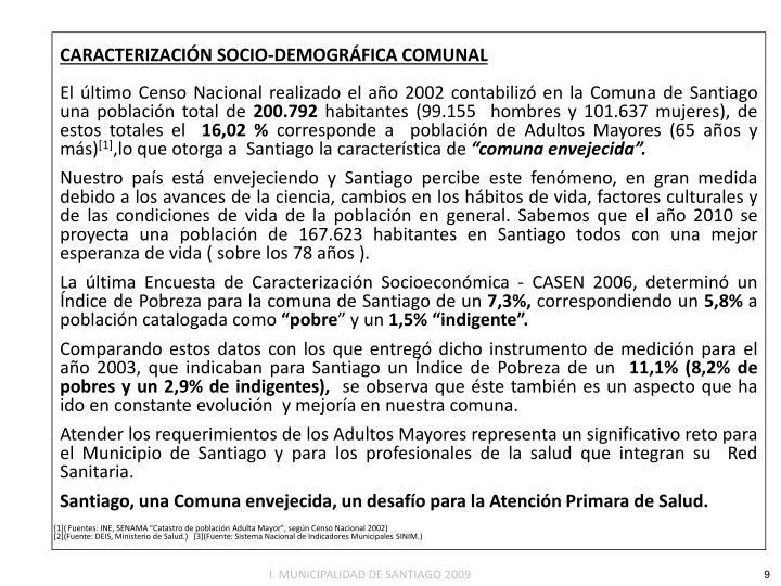 CARACTERIZACIÓN SOCIO-DEMOGRÁFICA COMUNAL