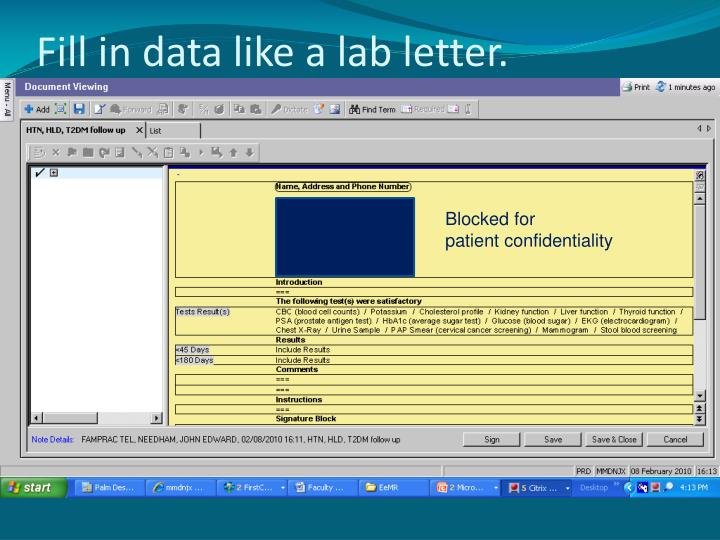 Fill in data like a lab letter.